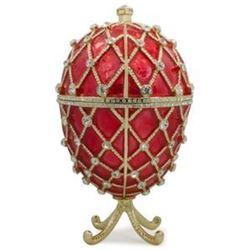 """7"""" Royal Trellis on Red Enamel Jeweled Faberge Inspired Egg"""