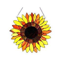 "Tiffany-glass Sunflower Window Panel 16"""