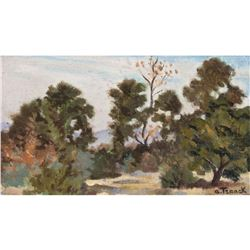 20thc Signed Painting, Forest Path