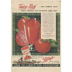 1940's Libby's Tomato Juice Magazine Ad