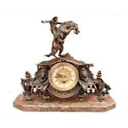 REMINGTON BRONCO BUSTER BRONZE CLOCK SCULPTURE