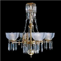 """Whitaker 4B - 4 Light Brass and Crystal Victorian Chandelier - 28"""" x 31"""""""