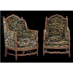 c1880 Pair of Upholstered Walnut Diminutive Wing Armchair
