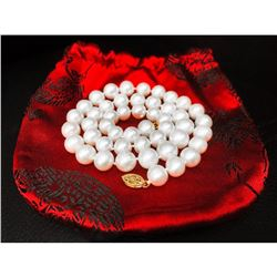 AAA+ 48 Round Pearl Necklace with Gold Clasp