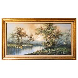 Original Oil On Canvas River Scene Early 20th Century