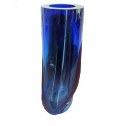 Signed Libera Cobalt Blue Art Glass Vase
