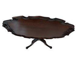 Georgian Mahogany Tilt Top Pie Crust Serving Table