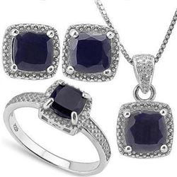 4 3/5 CARAT BLACK SAPPHIRE DIAMOND 925 STERLING SILVER SET - Very Rare Set