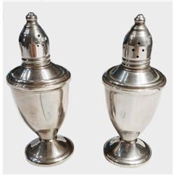 Antique Pair Of Sterling Silver Salt and Pepper Shakers