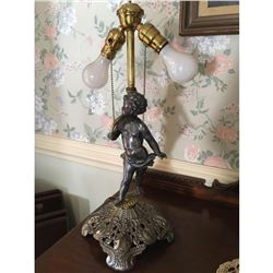 Cherub Lamp With Custom Made Stained Glass
