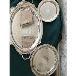 Large Lot Of Silver Plated Serving Platters