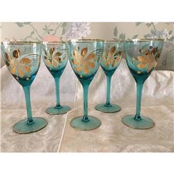 Lot Of 5 Vintage Blue Color glass With Gold Hand Painted Floral Fronts