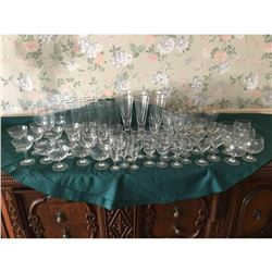 Massive 84 Piece Glassware Set With Silver Plated Rim