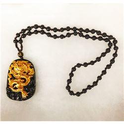 Natural Black Obsidian Asian Dragon Pendant