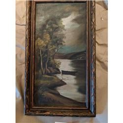Antique Moon River Nightscape Oil on Canvas - Early 1900s