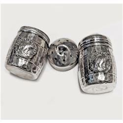 Pair Of  Yellow Stone  Kodiak Sterling Silver Salt & Pepper Shakers
