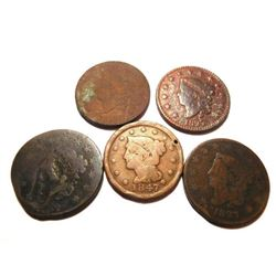 Five (5) U.S. Large Cents: 1825, 1827, 1827, 1835 and 1847