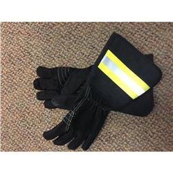 Brand New Black Leather Reflective Linemen Gloves