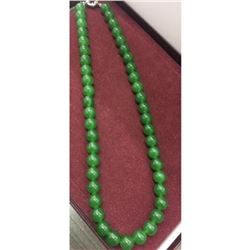 Large Green Jade Bead Necklace with Silver Tone Clamp