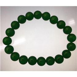An Asian Green Jade Beaded Bracelet