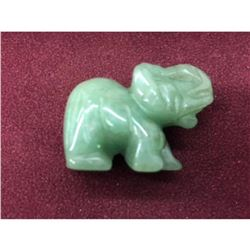Carved Asian Green Jade Elephant Figure