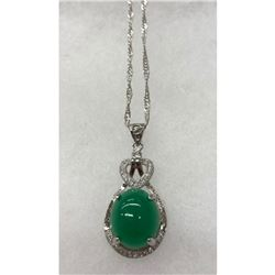 Exquisite Green Jade Pendant On 925 Silver Chain