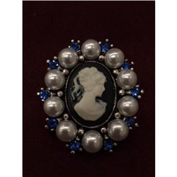 Antique Silver Victorian Cameo with Pearls Blue Crystal Brooch