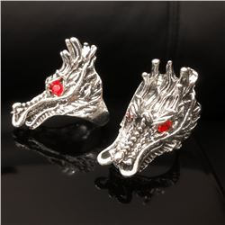 2 Large Exquisite Chinese Miao Silver Handmade Dragon Head Rings