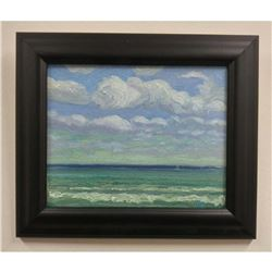 """Original Norman Brown 8""""x 10"""" - """"Waves On Lake Superior"""" Oil On Panel"""