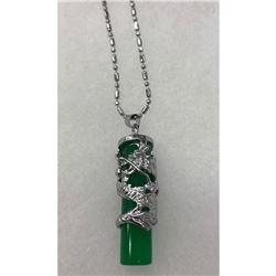 Stunning Asian Green Jade Dragon Pendant Necklace