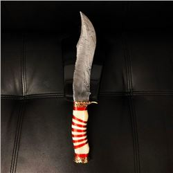 Stunning, Ornate Damascus Hunting Bowie Knife