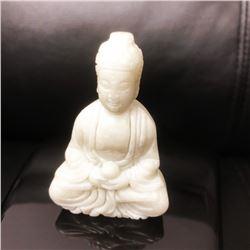 Asian White Jade Resting Buddha Figure