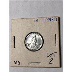1943 D WWII Steel War Penny in MS Grade Nice US Cent