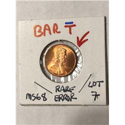 EXTREMELY RARE Error BAR T 1995 Lincoln Penny MS68 High Grade