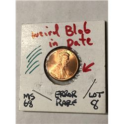 EXTREMELY RARE Error Blob in Date 1995 Lincoln Penny MS68 High Grade
