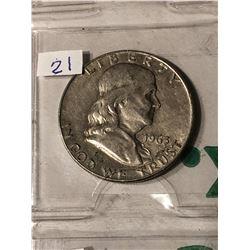 1963 D Silver Franklin Half Dollar Nice Early US Coin