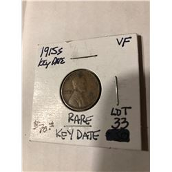 Extremely Rare Key Date 1915 S Lincoln Cent Very Fine Grade