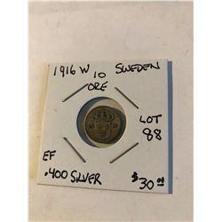 1916 W Sweden Silver 10 Ore Coin in Extra Fine Grade