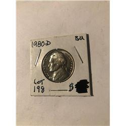 1980 D Jefferson Nickel in Brilliant Uncirculated Grade