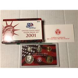 2001 S SILVER DCAM Proof Set no Quarters in Original Box with Paperwork
