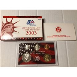 2003 S SILVER DCAM Proof Set no Quarters in Original Box with Paperwork