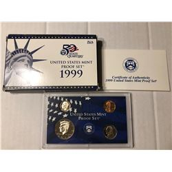 1999 S DCAM Proof Set no Quarters in Original Box with Paperwork