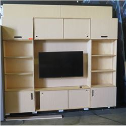 "Cabinet/Shelving Panel System with Wall-Mount TV, 96""L x 98""H, 12""D"