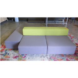 5-Piece Modular Sofa/Lounger Ensemble (seating 6' length on each side, plus additional side seat 49.