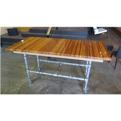 Custom Rolling Table w/Industrial Pipe Base, Glazed Wood Top