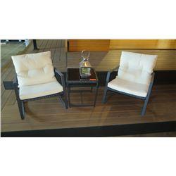 Patio Set: 2 Rocking Chairs w/Cushions, Side Table, Lantern