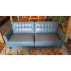 Upholstered Leather-Like Sofa Sleeper (Backrest Folds Down),