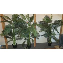3 Large Potted Faux Palm Trees