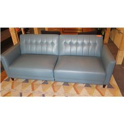 "Upholstered Leather-Like Sofa Sleeper (Backrest Folds Down) 80""L x 30""D x 32""H"