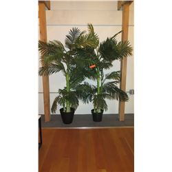 2 Large Potted Faux Palm Trees 6'H